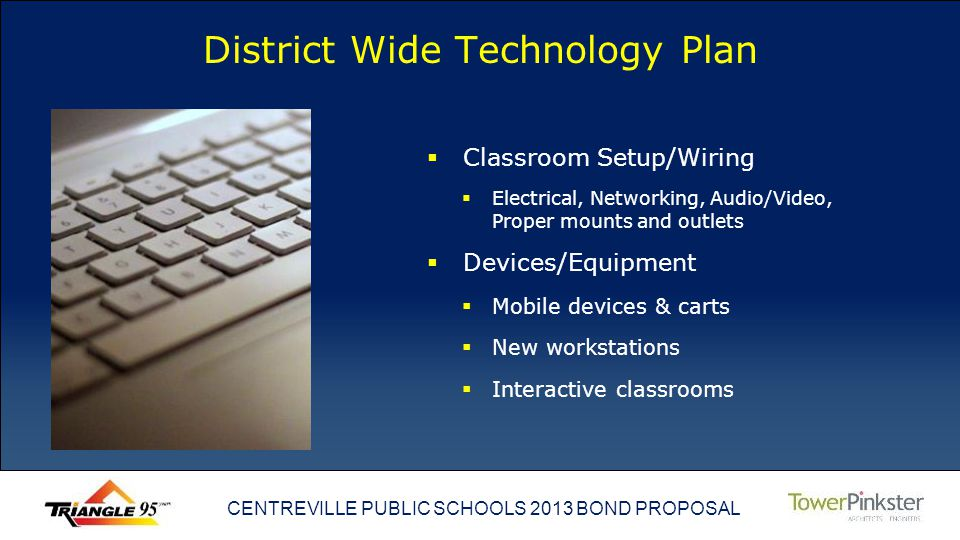 CENTREVILLE PUBLIC SCHOOLS 2013 BOND PROPOSAL District Wide Technology Plan Classroom Setup/Wiring Electrical, Networking, Audio/Video, Proper mounts and outlets Devices/Equipment Mobile devices & carts New workstations Interactive classrooms
