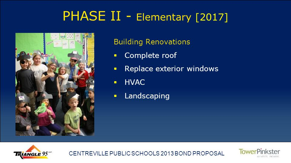 CENTREVILLE PUBLIC SCHOOLS 2013 BOND PROPOSAL PHASE II - Elementary [2017] Building Renovations Complete roof Replace exterior windows HVAC Landscaping