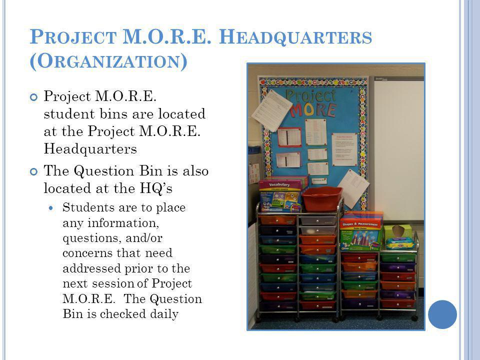 P ROJECT M.O.R.E. H EADQUARTERS (O RGANIZATION ) Project M.O.R.E.
