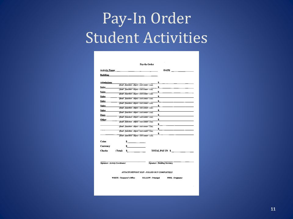 Pay-In Order Activity Name – Your club, example, Class 2000, National Honor Society.