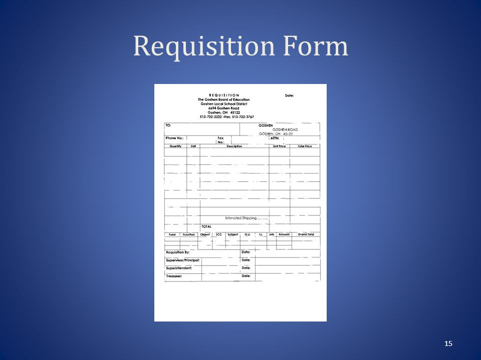 Requisition Instructions Date – The date you are filling out form.
