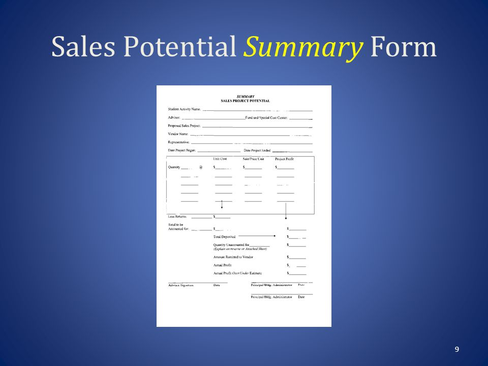 Sales Potential Summary 8 Student Activity Name – The name of your group or club.