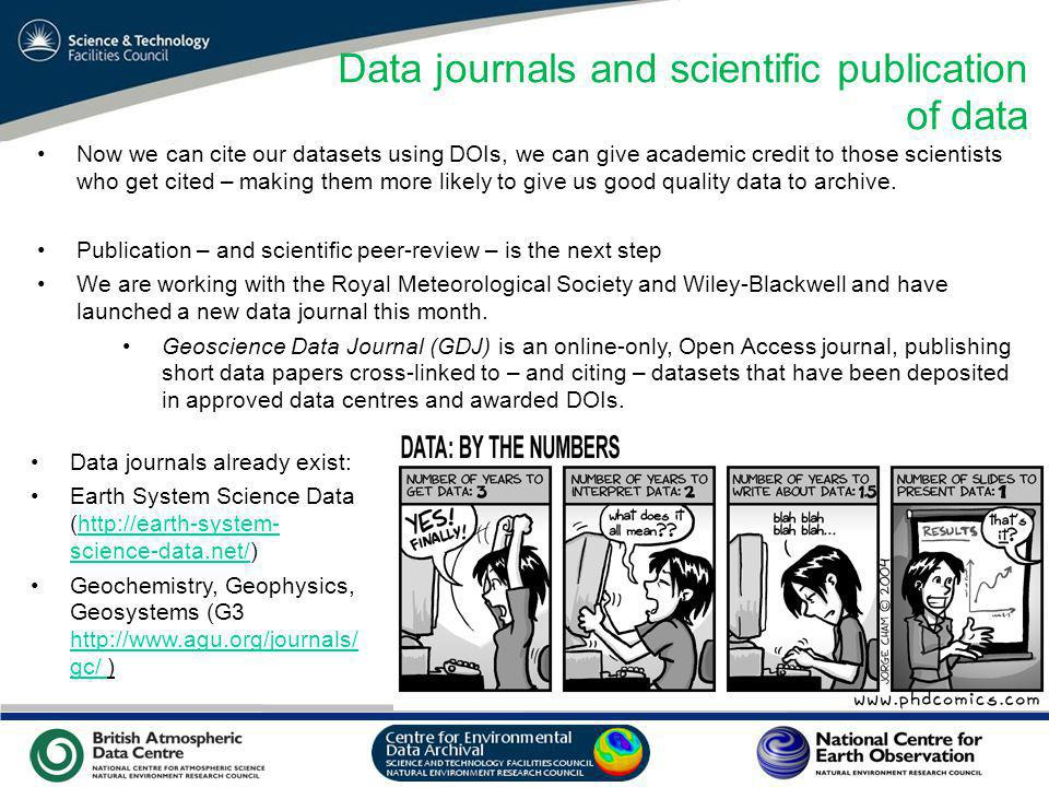 VO Sandpit, November 2009 Data journals and scientific publication of data Now we can cite our datasets using DOIs, we can give academic credit to those scientists who get cited – making them more likely to give us good quality data to archive.