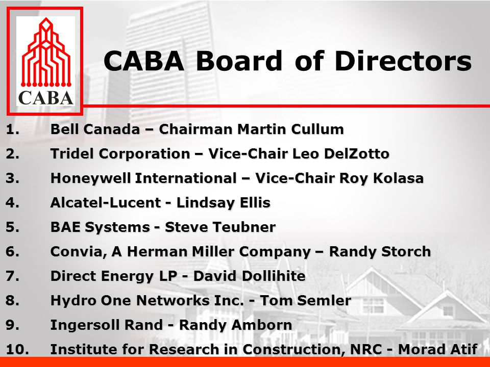 1.Bell Canada – Chairman Martin Cullum 2.Tridel Corporation – Vice-Chair Leo DelZotto 3.Honeywell International – Vice-Chair Roy Kolasa 4.Alcatel-Lucent - Lindsay Ellis 5.BAE Systems - Steve Teubner 6.Convia, A Herman Miller Company – Randy Storch 7.Direct Energy LP - David Dollihite 8.Hydro One Networks Inc.