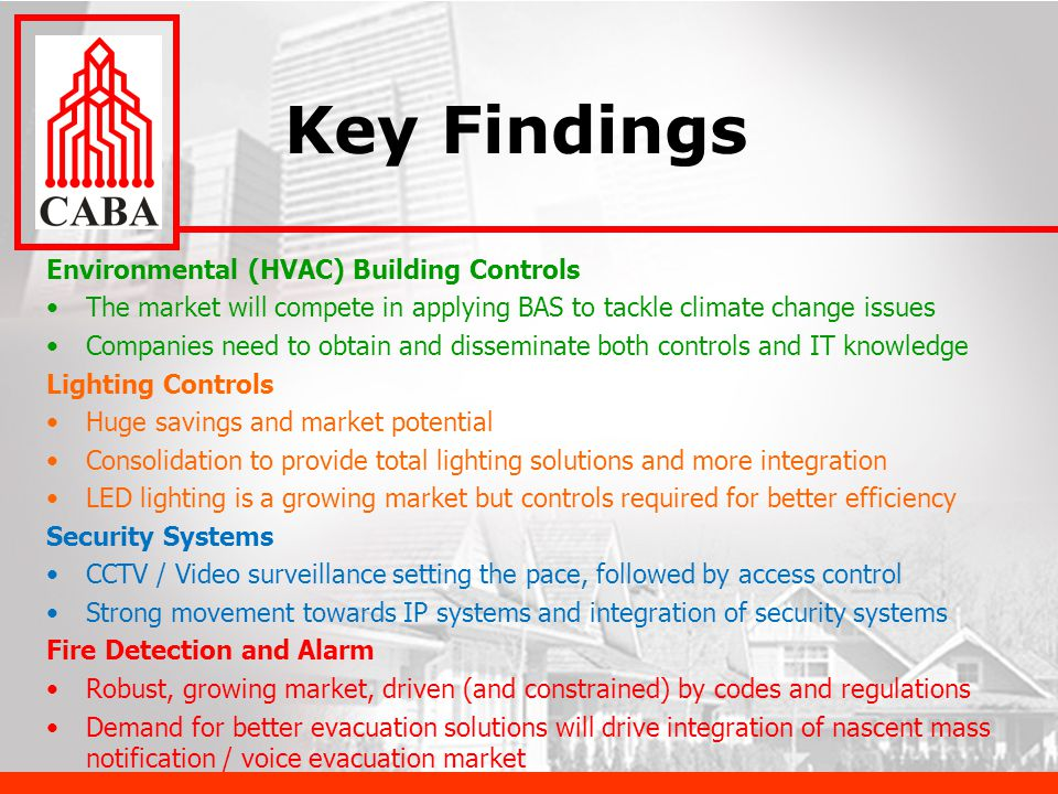 Key Findings Environmental (HVAC) Building Controls The market will compete in applying BAS to tackle climate change issues Companies need to obtain and disseminate both controls and IT knowledge Lighting Controls Huge savings and market potential Consolidation to provide total lighting solutions and more integration LED lighting is a growing market but controls required for better efficiency Security Systems CCTV / Video surveillance setting the pace, followed by access control Strong movement towards IP systems and integration of security systems Fire Detection and Alarm Robust, growing market, driven (and constrained) by codes and regulations Demand for better evacuation solutions will drive integration of nascent mass notification / voice evacuation market