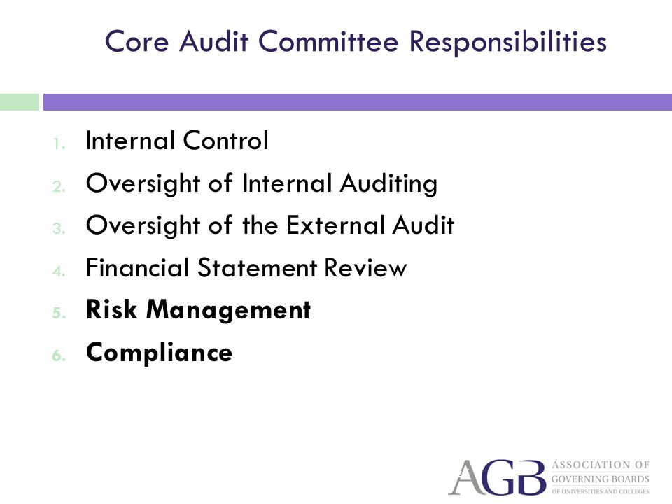 Core Audit Committee Responsibilities 1. Internal Control 2. Oversight of Internal Auditing 3. Oversight of the External Audit 4. Financial Statement