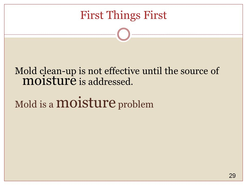 29 First Things First Mold clean-up is not effective until the source of moisture is addressed.