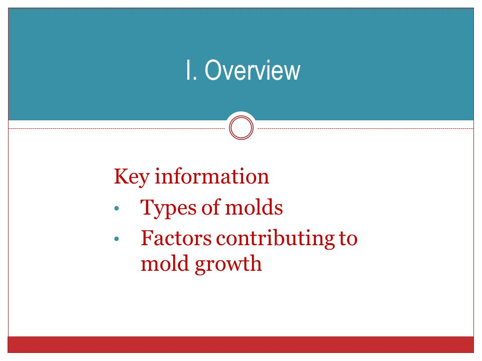 I. Overview Key information Types of molds Factors contributing to mold growth
