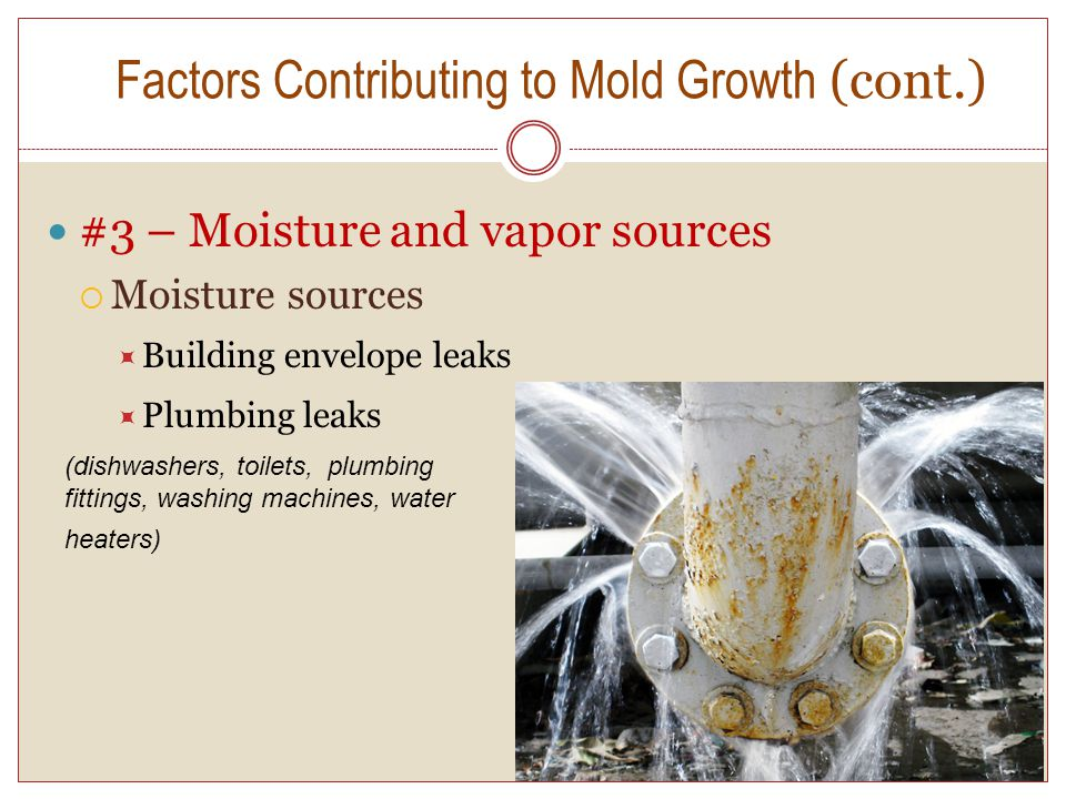 9 #3 – Moisture and vapor sources Moisture sources Building envelope leaks Plumbing leaks Factors Contributing to Mold Growth (cont.) (dishwashers, toilets, plumbing fittings, washing machines, water heaters)