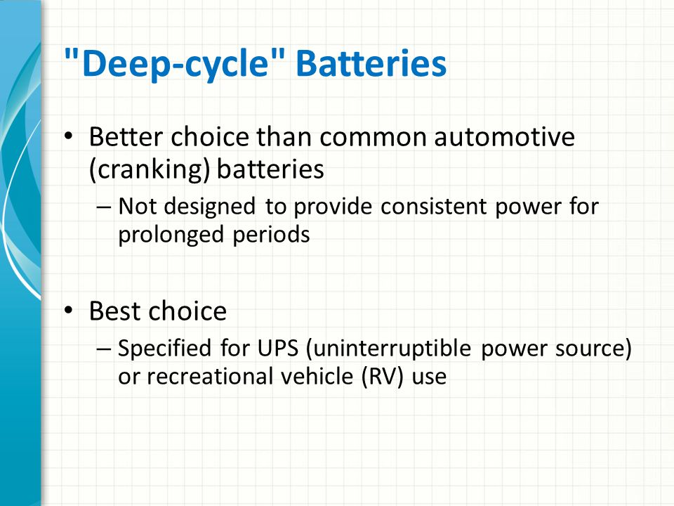 Lead Acid Batteries Flooded (wet) – Can spill if tipped SLA (Sealed Lead-Acid) – Can be operated in any position -- even up-side down The optimum charging voltage for 12-volt lead acid batteries should be about two volts more than the battery s rated voltage.