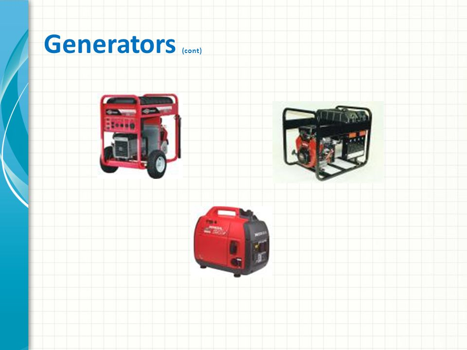Generators Required at command posts and shelters – Lighting, food preparation, and other equipment Radio equipment can be operated from the same or a separate generator, – But be sure that co-located multiple generators are bonded with a common ground system for safety Not all generators have adequate voltage regulation A voltmeter should be part of your equipment