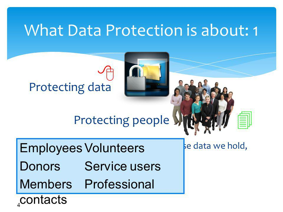 4 What Data Protection is about: 1 Prevent harm to the individuals whose data we hold, or other people Keep information in the right hands Hold good quality data Protecting people Protecting data EmployeesVolunteers DonorsService users MembersProfessional contacts