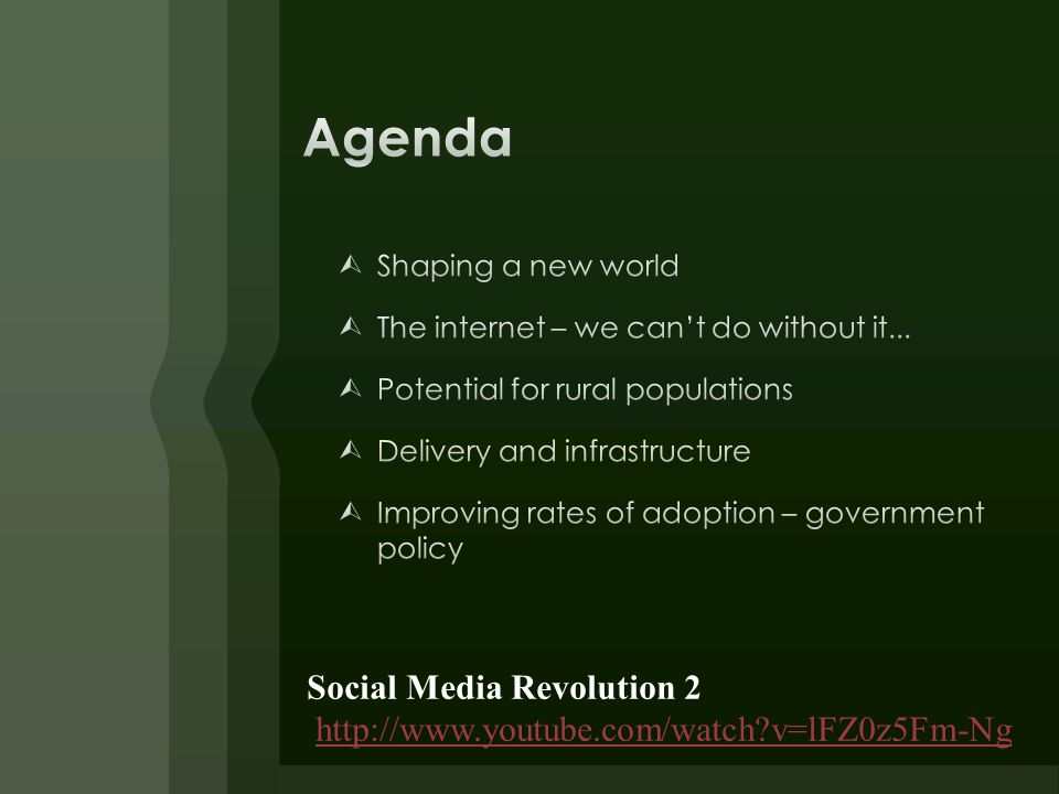 Social Media Revolution 2 http://www.youtube.com/watch?v=lFZ0z5Fm-Ng