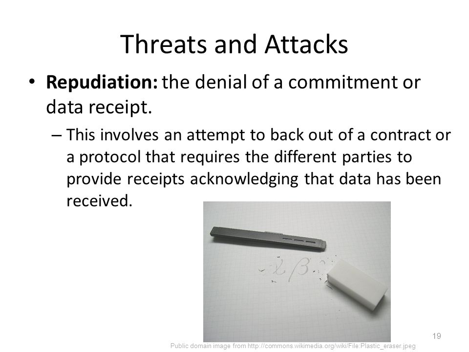 Threats and Attacks Repudiation: the denial of a commitment or data receipt.