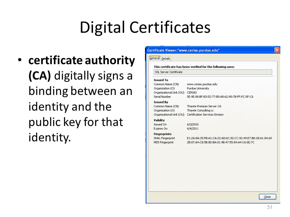 Digital Certificates certificate authority (CA) digitally signs a binding between an identity and the public key for that identity.