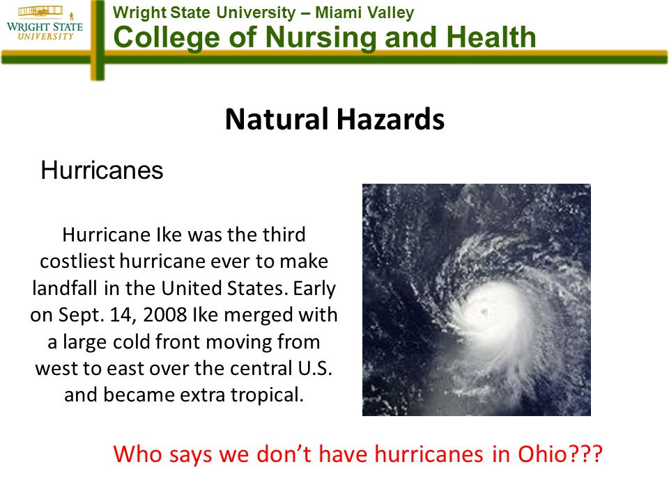 Wright State University – Miami Valley College of Nursing and Health Natural Hazards Hurricanes Hurricane Ike was the third costliest hurricane ever to make landfall in the United States.
