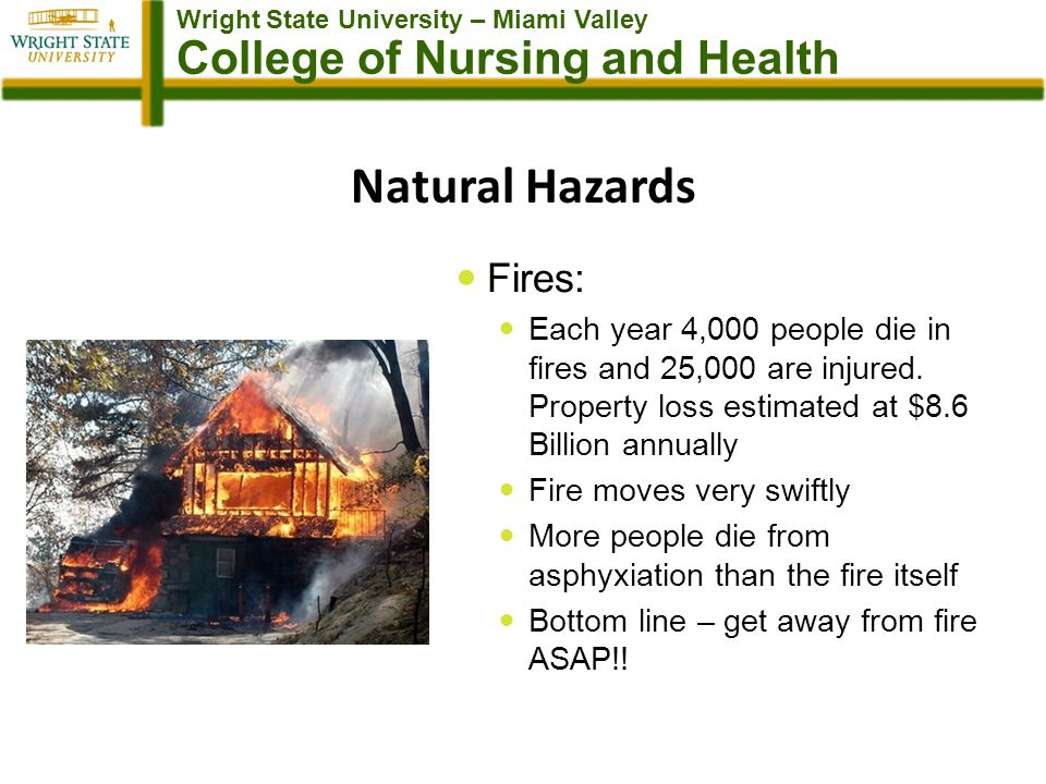 Wright State University – Miami Valley College of Nursing and Health Natural Hazards Fires: Each year 4,000 people die in fires and 25,000 are injured.