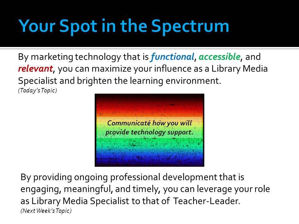 By marketing technology that is functional, accessible, and relevant, you can maximize your influence as a Library Media Specialist and brighten the learning environment.