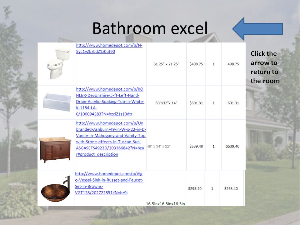 Bathroom excel Click the arrow to return to the room