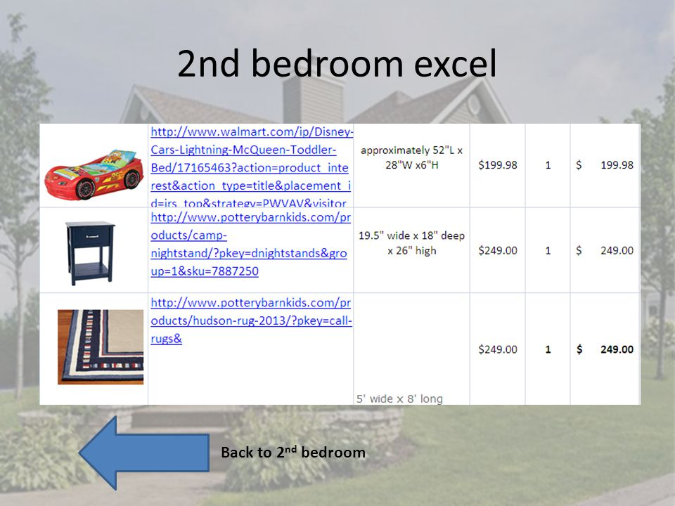 2nd bedroom excel Back to 2 nd bedroom