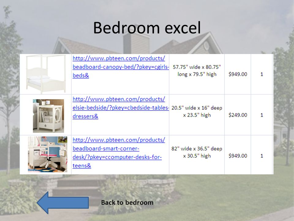 Bedroom excel Back to bedroom