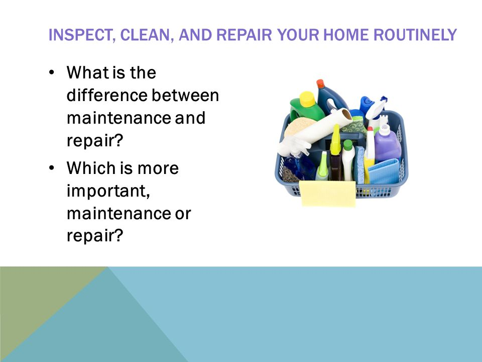 What is the difference between maintenance and repair.