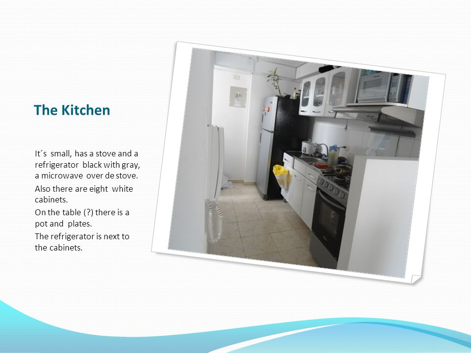 The Kitchen It´s small, has a stove and a refrigerator black with gray, a microwave over de stove.