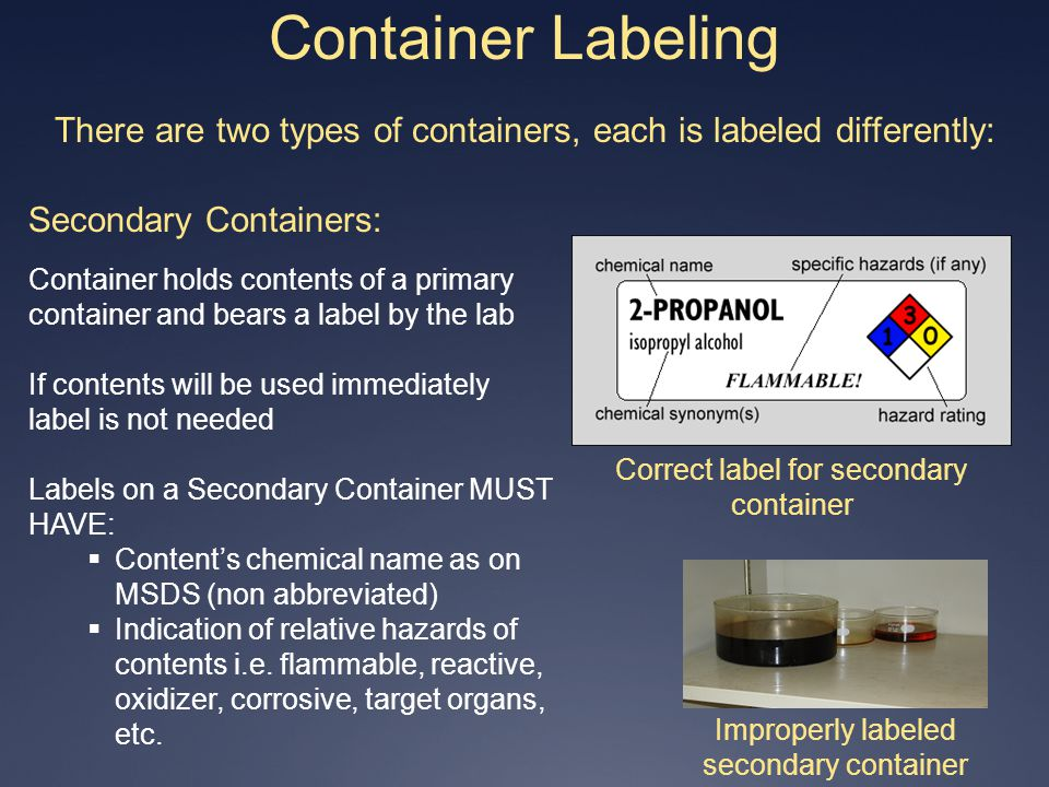 Container Labeling There are two types of containers, each is labeled differently: Secondary Containers: Container holds contents of a primary contain