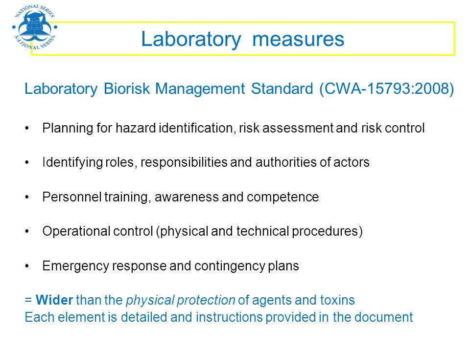 Laboratory measures Laboratory Biorisk Management Standard (CWA-15793:2008) Planning for hazard identification, risk assessment and risk control Ident