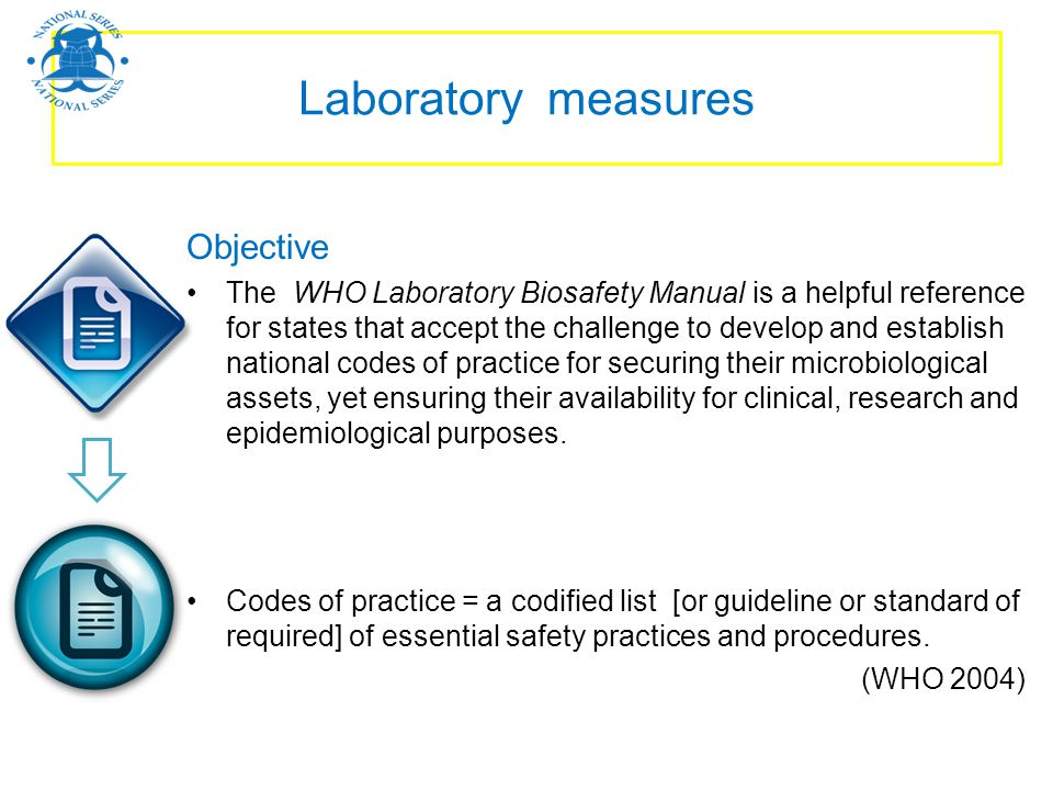 Laboratory measures Objective The WHO Laboratory Biosafety Manual is a helpful reference for states that accept the challenge to develop and establish