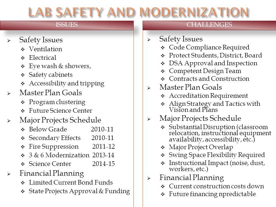 Safety Issues Ventilation Electrical Eye wash & showers, Safety cabinets Accessibility and tripping Master Plan Goals Program clustering Future Science Center Major Projects Schedule Below Grade 2010-11 Secondary Effects 2010-11 Fire Suppression 2011-12 3 & 6 Modernization 2013-14 Science Center 2014-15 Financial Planning Limited Current Bond Funds State Projects Approval & Funding Safety Issues Code Compliance Required Protect Students, District, Board DSA Approval and Inspection Competent Design Team Contracts and Construction Master Plan Goals Accreditation Requirement Align Strategy and Tactics with Vision and Plans Major Projects Schedule Substantial Disruption (classroom relocation, instructional equipment availability, accessibility, etc.) Major Project Overlap Swing Space Flexibility Required Instructional Impact (noise, dust, workers, etc.) Financial Planning Current construction costs down Future financing npredictable