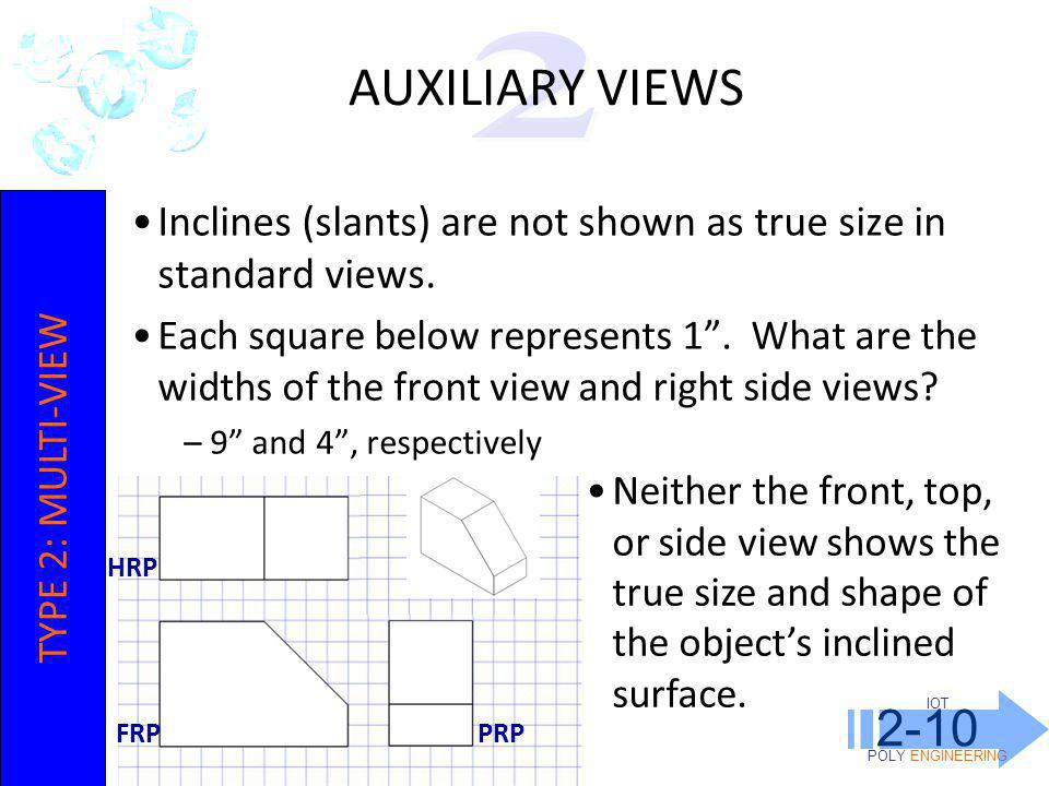 IOT POLY ENGINEERING 2-10 Inclines (slants) are not shown as true size in standard views.