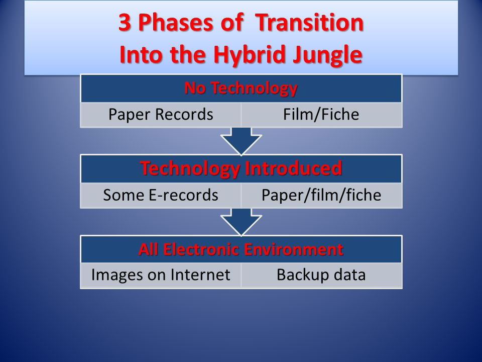Into the Hybrid Jungle Managing a variety of systems, formats and every index ever created; Find balance between storing redundant information and retention of vital business records.