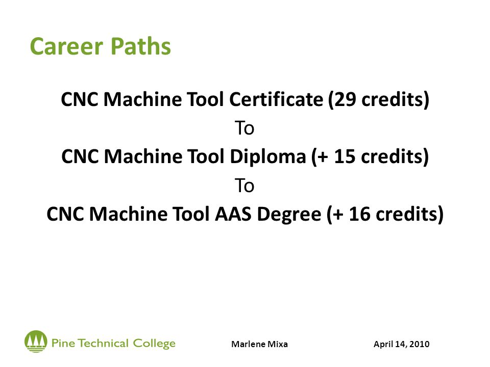 Career Paths CNC Machine Tool Certificate (29 credits) To CNC Machine Tool Diploma (+ 15 credits) To CNC Machine Tool AAS Degree (+ 16 credits) Marlen