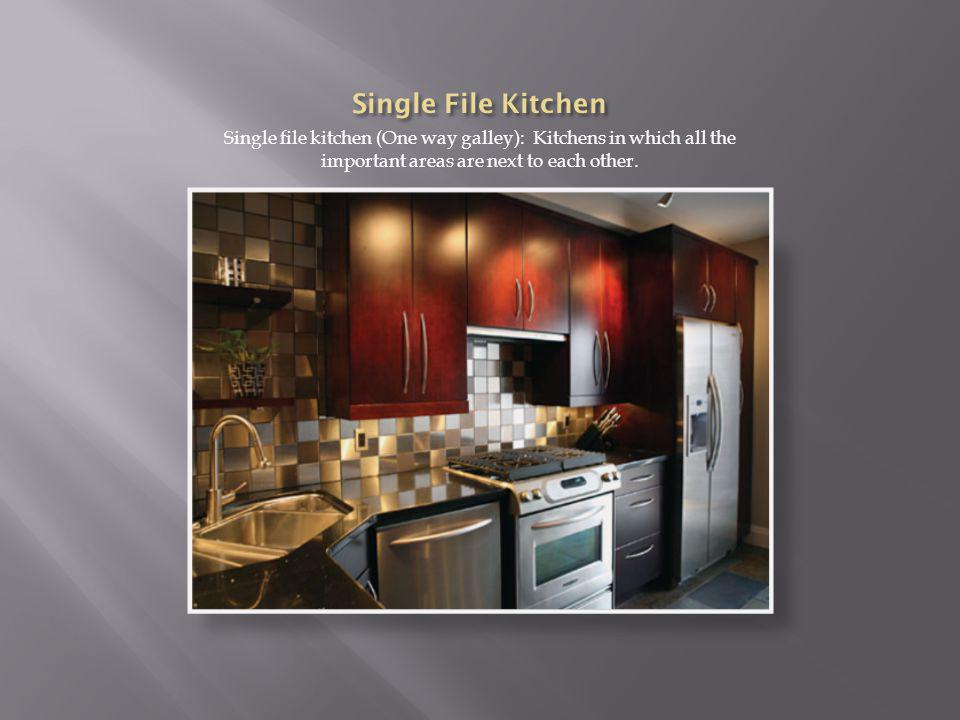 Single file kitchen (One way galley): Kitchens in which all the important areas are next to each other.
