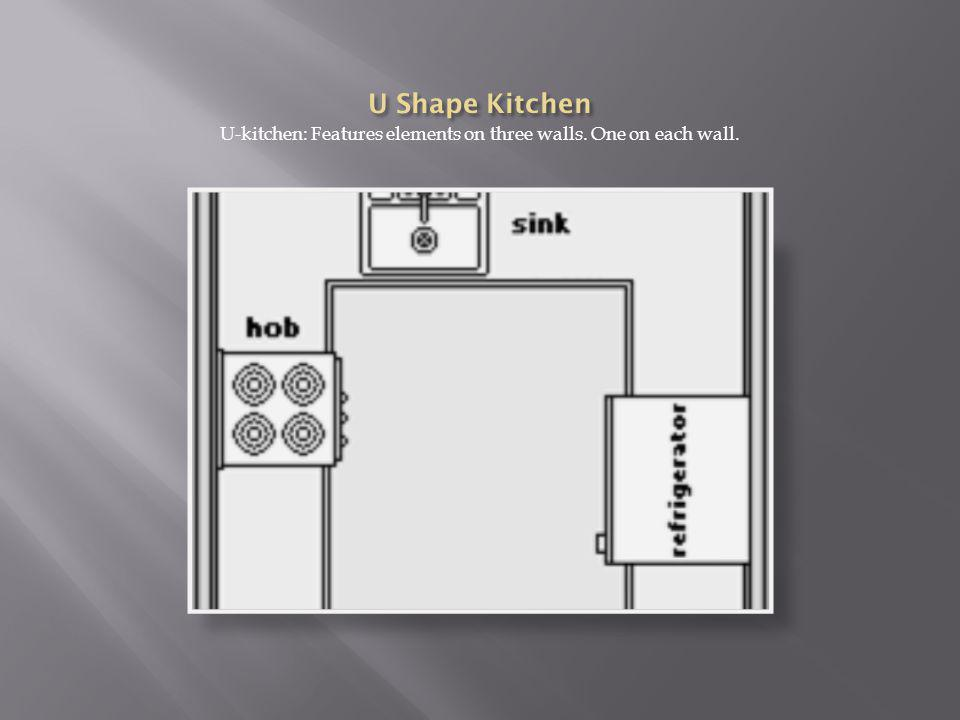 U-kitchen: Features elements on three walls. One on each wall.