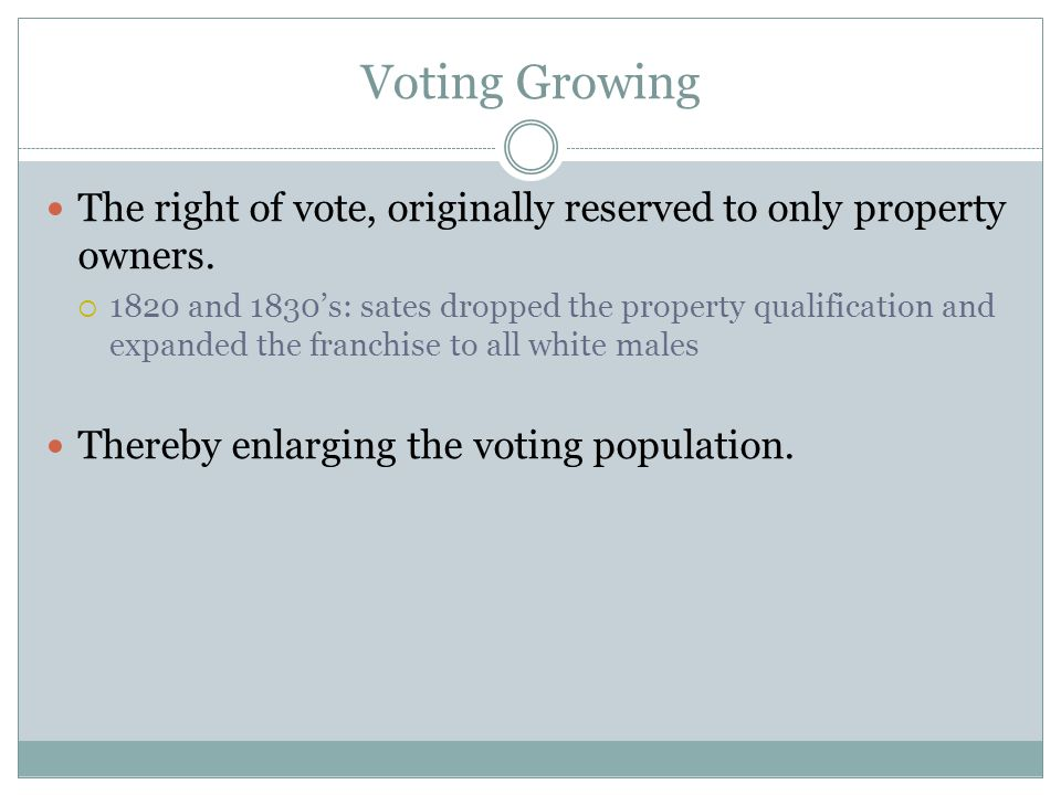 Voting Growing The right of vote, originally reserved to only property owners. 1820 and 1830s: sates dropped the property qualification and expanded t