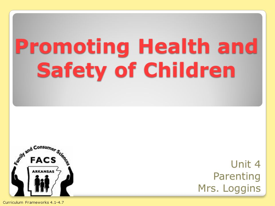 FW 4.1: Define terms related to promoting health and safety of children.