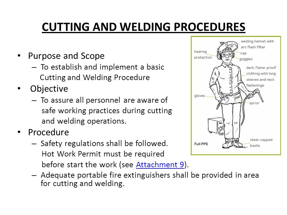 CUTTING AND WELDING PROCEDURES Purpose and Scope – To establish and implement a basic Cutting and Welding Procedure Objective – To assure all personne