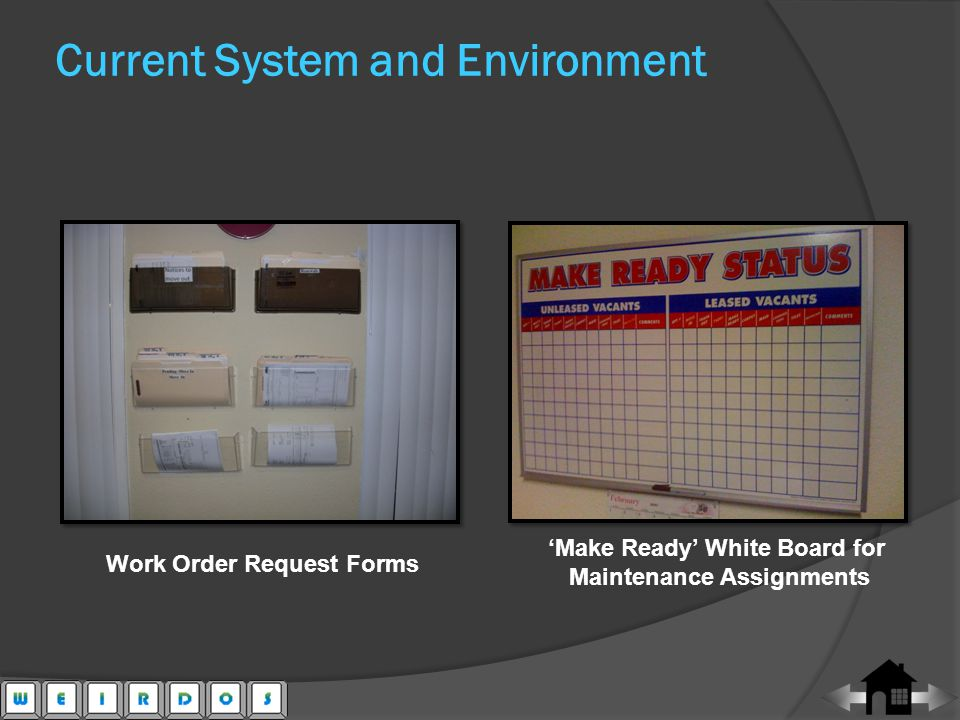Make Ready White Board for Maintenance Assignments Work Order Request Forms Current System and Environment