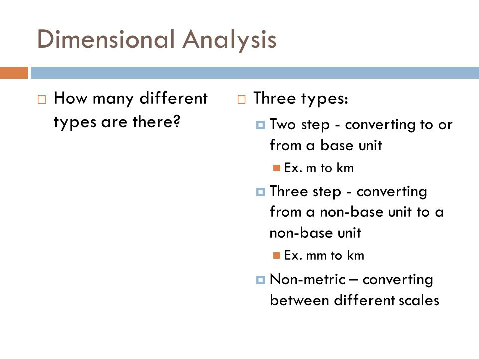 Dimensional Analysis How many different types are there.