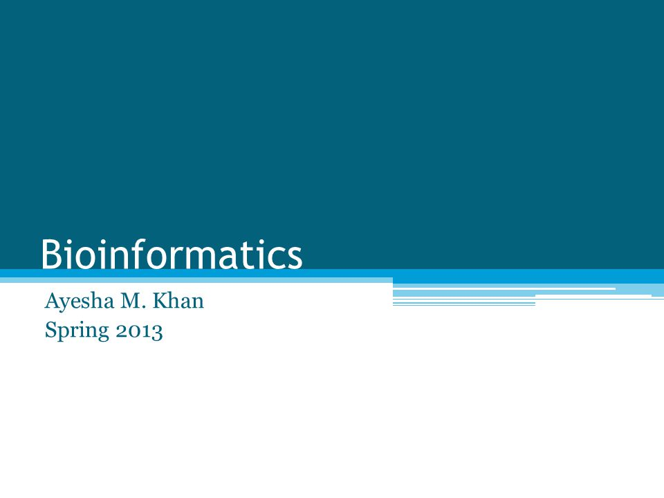 Bioinformatics Ayesha M. Khan Spring 2013
