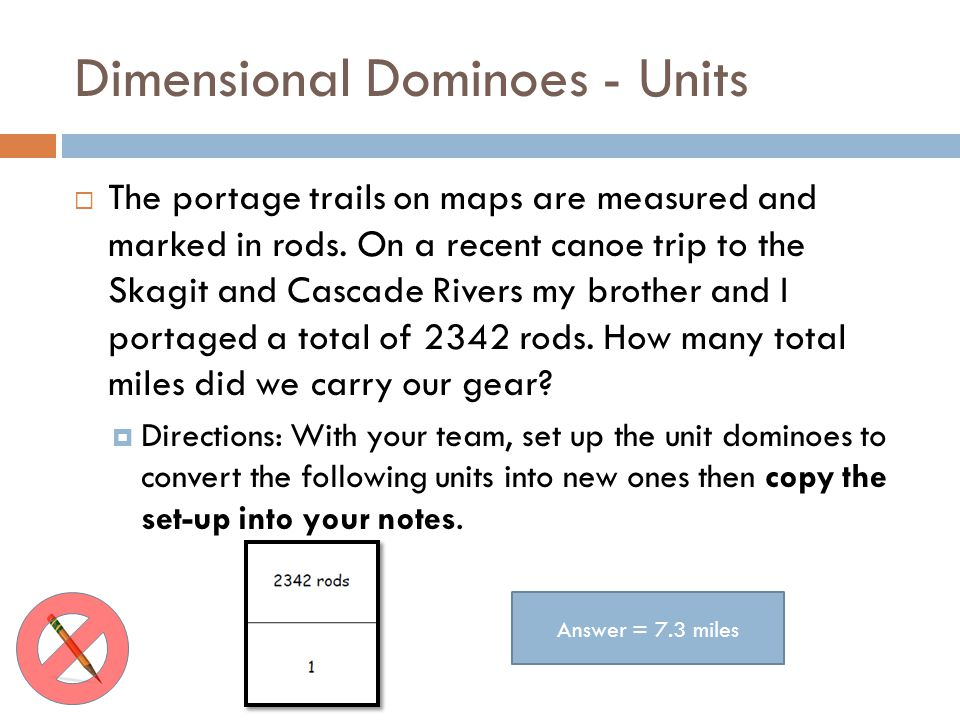 Dimensional Dominoes - Units The portage trails on maps are measured and marked in rods. On a recent canoe trip to the Skagit and Cascade Rivers my br
