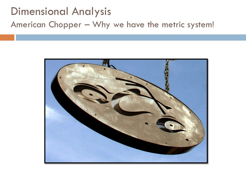 Dimensional Analysis American Chopper – Why we have the metric system!