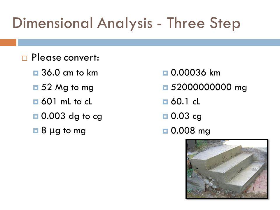 Dimensional Analysis - Three Step Please convert: 36.0 cm to km 52 Mg to mg 601 mL to cL 0.003 dg to cg 8 μ g to mg 0.00036 km 52000000000 mg 60.1 cL