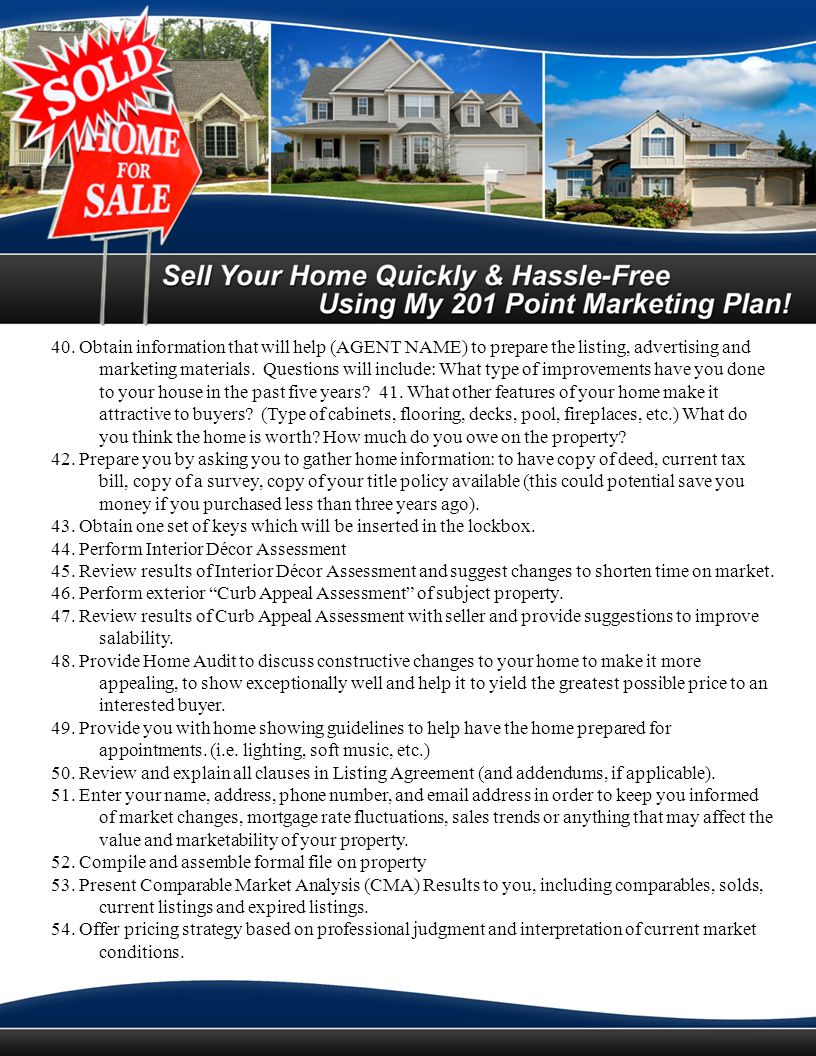{AGENTS NAME} EASY EXIT Listing Agreement Whats your biggest fear when you list your home with a real estate agent.