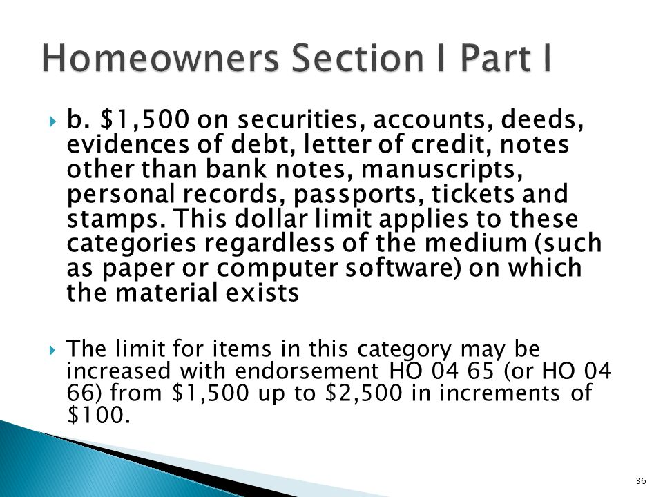 b. $1,500 on securities, accounts, deeds, evidences of debt, letter of credit, notes other than bank notes, manuscripts, personal records, passports,