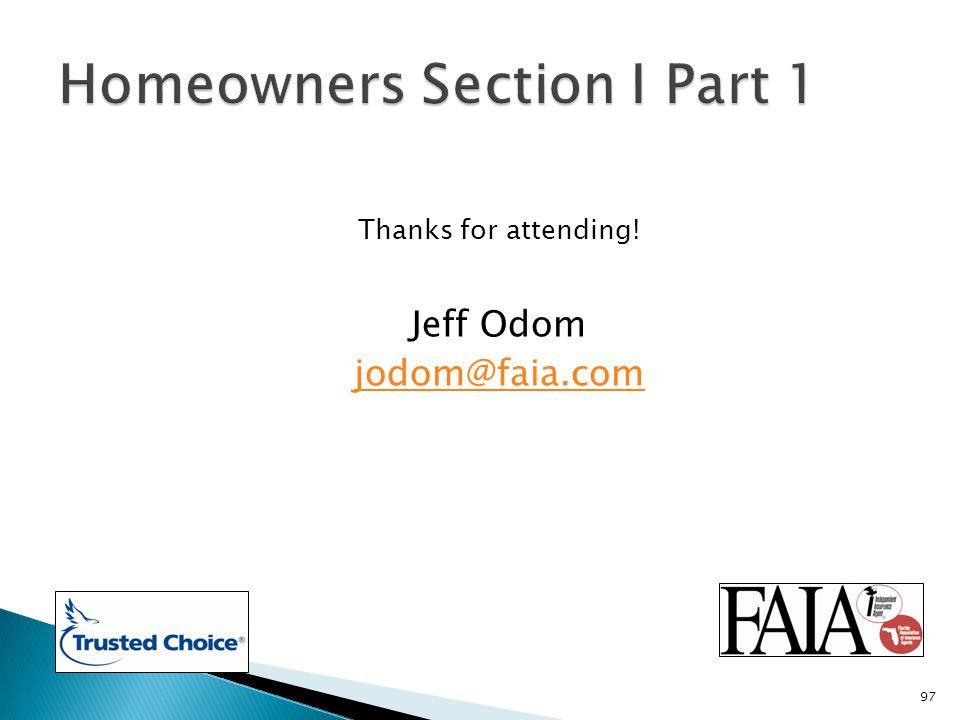 Thanks for attending! Jeff Odom jodom@faia.com 97