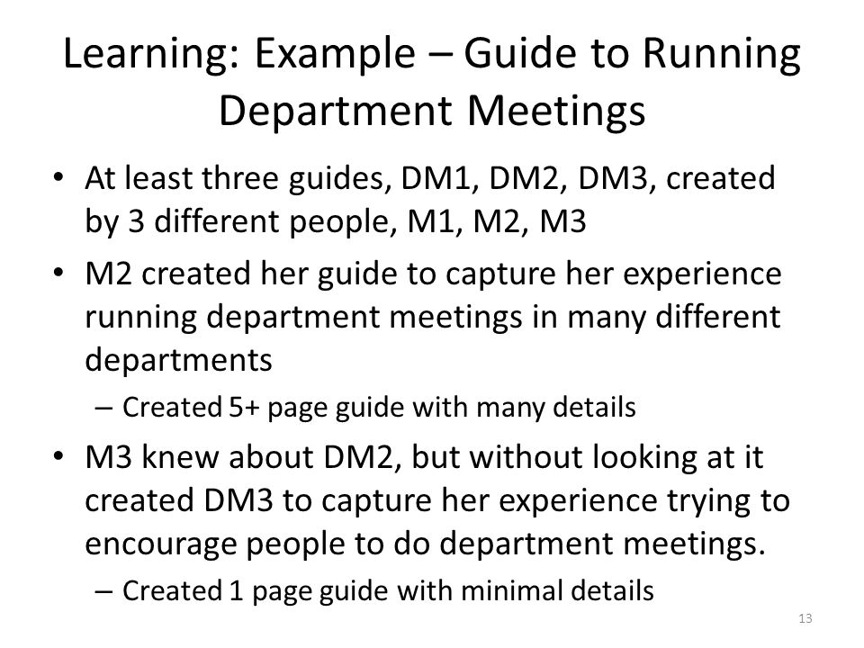 Learning: Example – Guide to Running Department Meetings At least three guides, DM1, DM2, DM3, created by 3 different people, M1, M2, M3 M2 created her guide to capture her experience running department meetings in many different departments – Created 5+ page guide with many details M3 knew about DM2, but without looking at it created DM3 to capture her experience trying to encourage people to do department meetings.