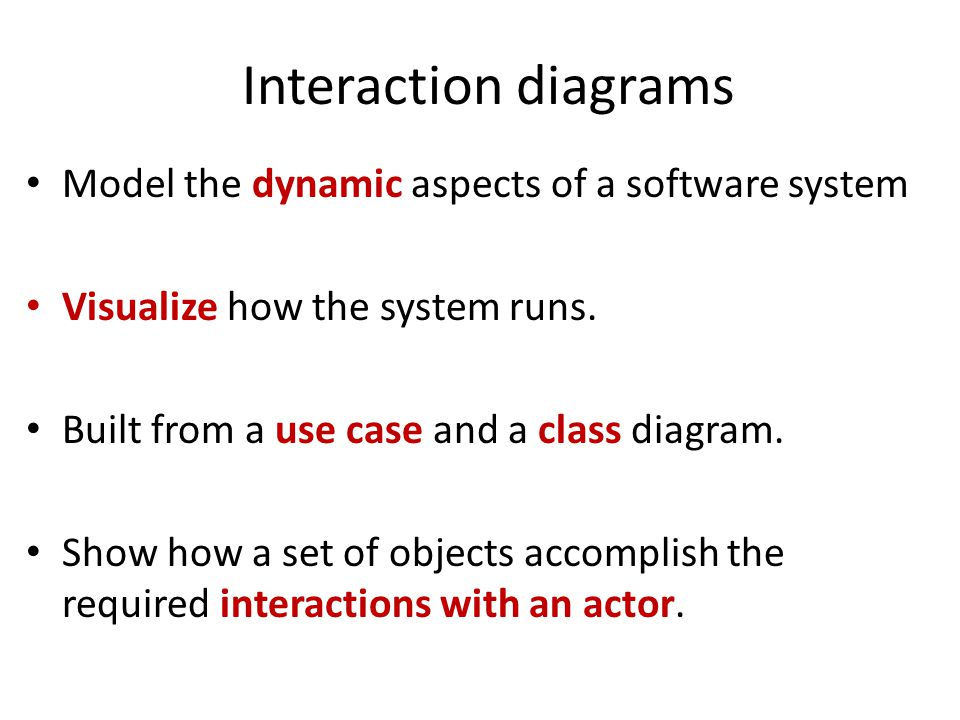 Interaction diagrams Model the dynamic aspects of a software system Visualize how the system runs. Built from a use case and a class diagram. Show how